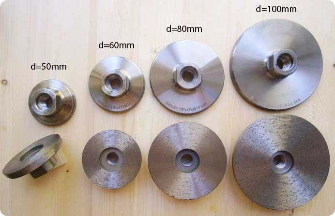 Алмазные шлифовальные диски с фланцем(цельноспечёные)d=50-60-80-100мм