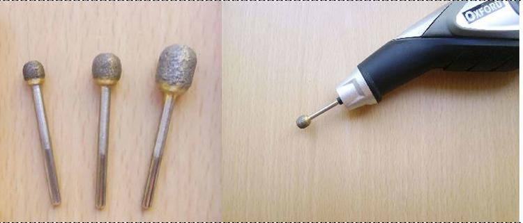 """Алмазные цельноспечёные шарошки """"шарики"""",для ручной гравировальной машинки(матовки),Диаметр головки = 6, 8, и 10 мм. Диаметр хвостовика = 3мм"""