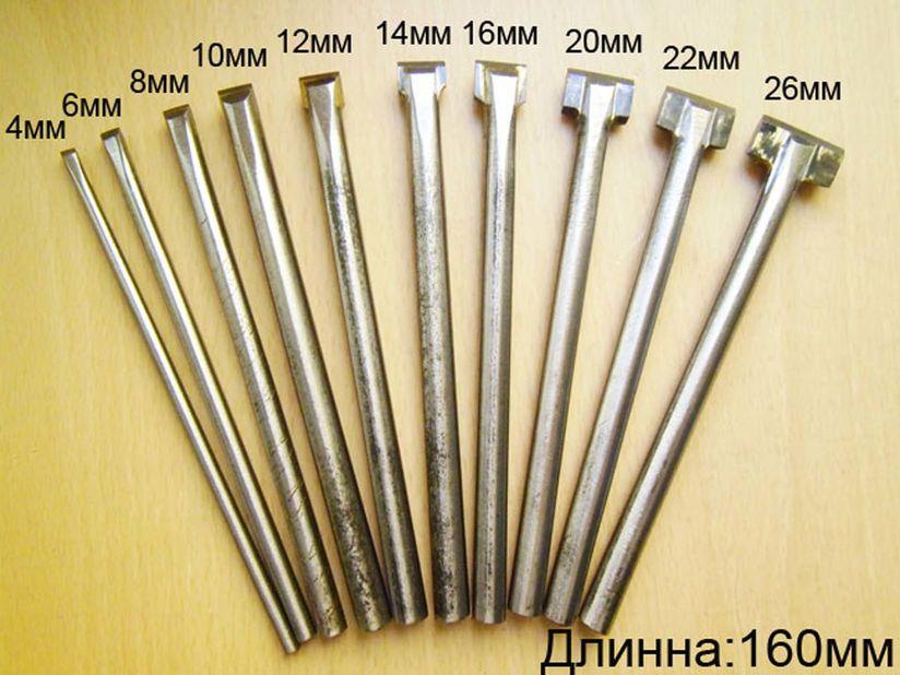 Скарпели для обработки гранита,мрамора на выбор, и в наборе-10штук(4-6-8-10-12-14-16-20-22-26мм)